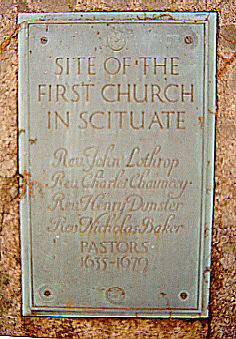 Plaque within the Men of Kent Cemetery; marks the site of the first meeting house and the first ministers of the community