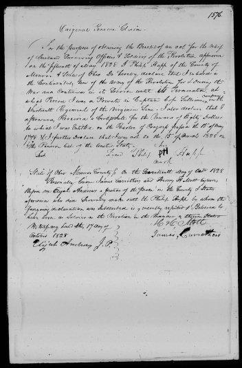 Revolutionary War Pension and Bounty Land Warrant Application