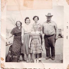 Grandma, Aunt Barb, my mom, my grandpa, and my Aunt Jan - July 1958